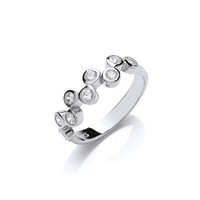 Silver and CZ Bubble Row Ring