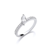 Silver and Offset CZ  Solitaire Stacking Ring