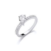Silver and Teardrop CZ  Solitaire Stacking Ring