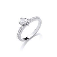 Silver and Round CZ Solitaire Stacking Ring