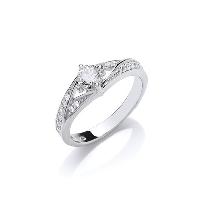 Silver and CZ Solitaire Gina Ring