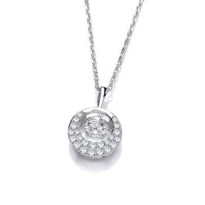 Silver and Dancing Cubic Zirconia Crescent Moon Necklace