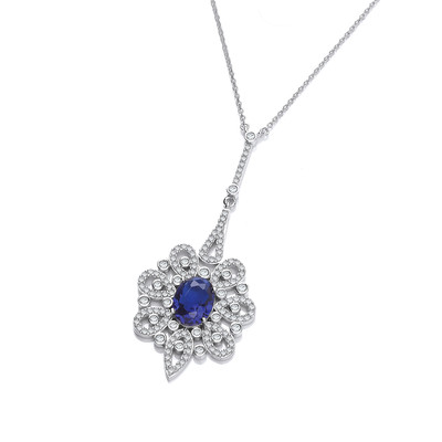 Silver and Sapphire Cubic Zirconia Belle Epoque Necklace