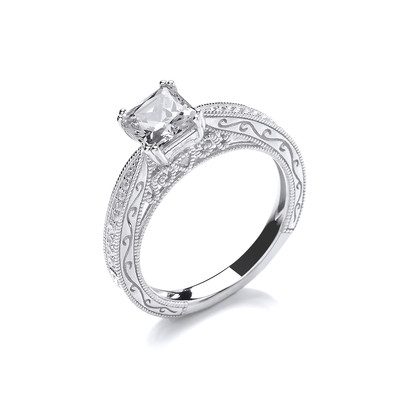 Silver and CZ Ornate Princess Cut Ring
