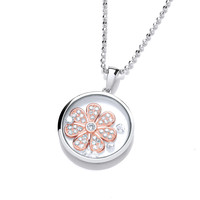 Celestial Silver and Rose Gold Daisy Pendant