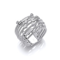 Silver and CZ Mulit Wrap Ring