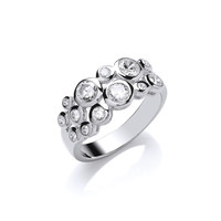 Silver and CZ Midi Bubble Ring