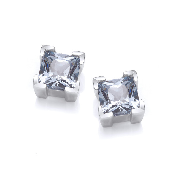 Sterling Silver and Aqua Crystal Square Earrings