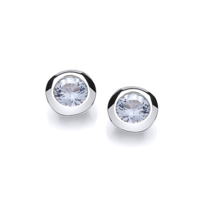 Silver & Aqua Cubic Zirconia Solitaire Earrings