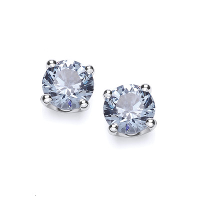 Sterling Silver Simple Aqua Cubic Zirconia Solitaire Stud Earrings