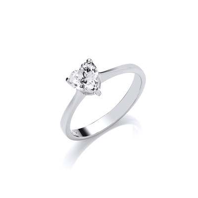 Silver and CZ Heart Solitaire Ring