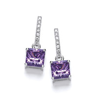 Delicate Square Amethyst CZ Solitaire Earrings
