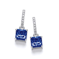 Delicate Square Tanzanite CZ Solitaire Earrings