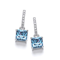 Delicate Square Blue Topaz CZ Solitaire Earrings