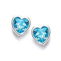 Take Heart Blue Topaz CZ Stud Earrings