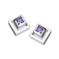 Silver and Amethyst CZ Square in Square Earrings