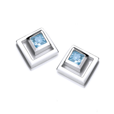 Silver & Aqua Cubic Zirconia Squares Earrings