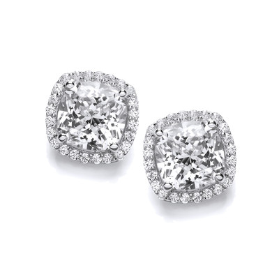 Silver and CZ Square Cushion Earrings