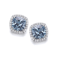 Silver and Aqua CZ Square Cushion Earrings