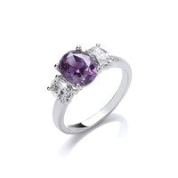 Silver and Cubic Zirconia Amethyst Beauty Ring