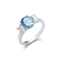 Silver and Blue Topaz CZ Beauty Ring  - Size S and U Only