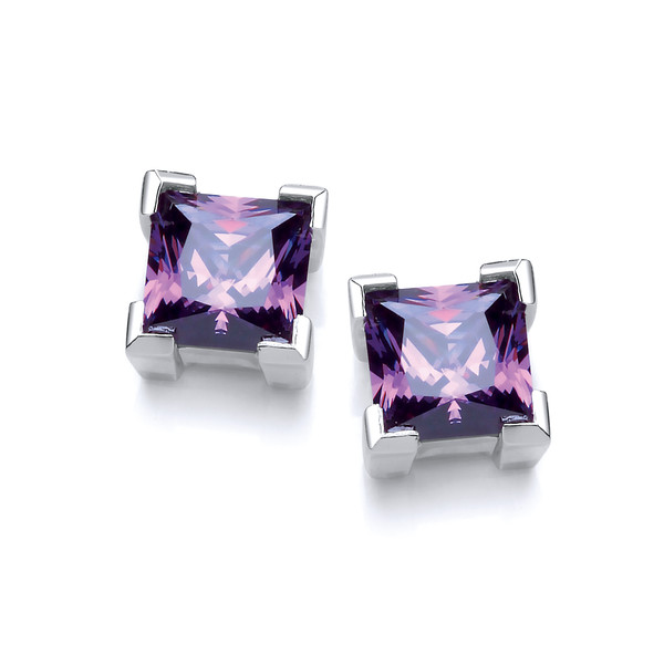 Sterling Silver and Amethyst Crystal Square Earrings