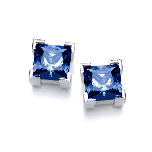 Silver & Sapphire Cubic Zirconia Square Earrings