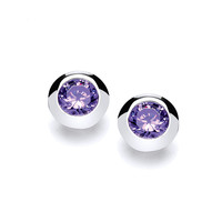 Sterling Silver Open-Backed Amethyst CZ Solitaire Earrings