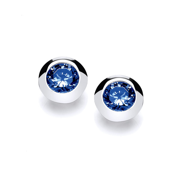 Silver & Sapphire Cubic Zirconia Solitaire Earrings