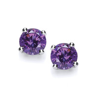 Sterling Silver Simple Amethyst Cubic Zirconia Solitaire Stud Earrings