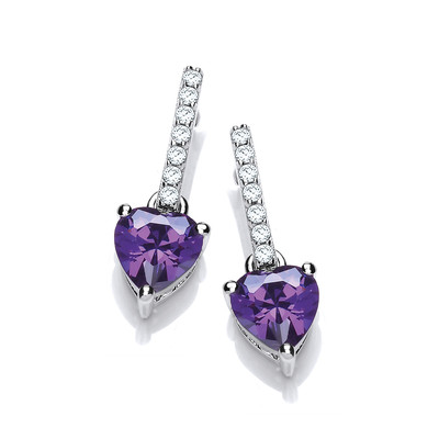 Sparkly Amethyst Heart Drop Earrings