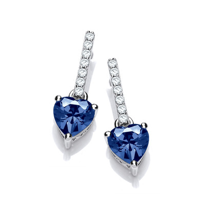 Sparkly Sapphire Heart Drop Earrings