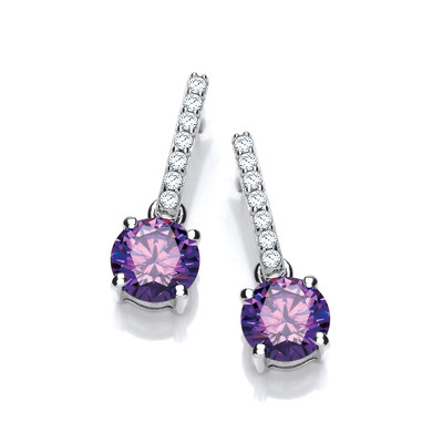 Round Amethyst Cubic Zirconia Solitaire Drop Earrings