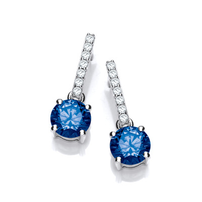 Round Sapphire Cubic Zirconia Solitaire Drop Earrings