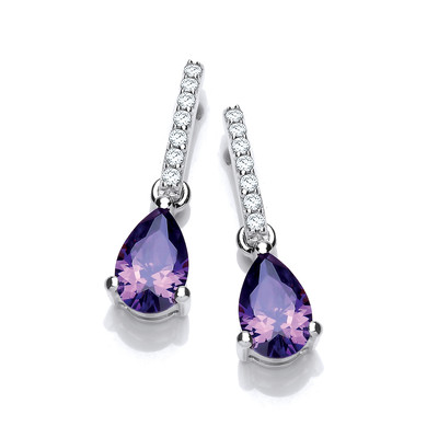 Delicate Amethyst CZ and Silver Teardrop Earrings