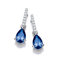 Delicate Sapphire CZ and Silver Teardrop Earrings