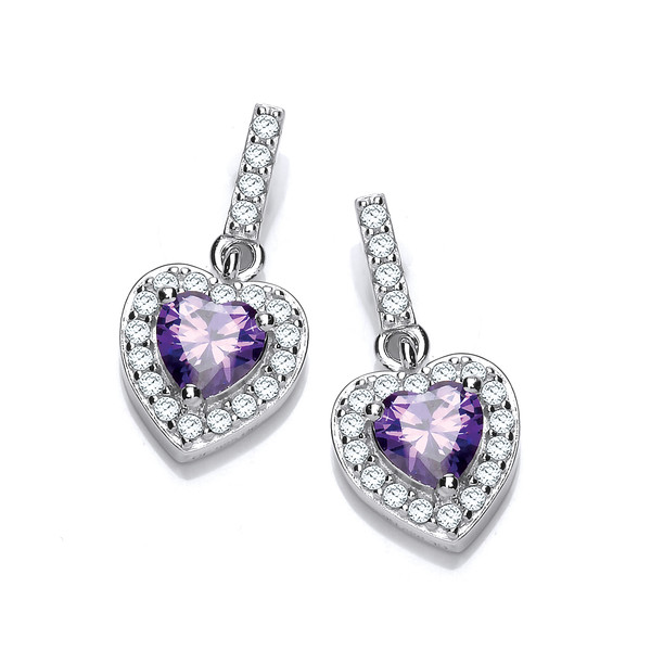 So Cute Amethyst Cubic Zirconia Heart Earrings