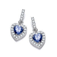 So Cute Mini Sapphire CZ Drop Heart Earrings