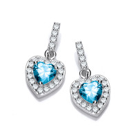So Cute Mini Aqua CZ Drop Heart Earrings
