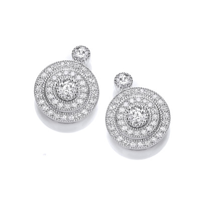 Elegant Silver and Cubic Zirconia Evening Earrings