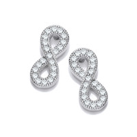 Silver and Cubic Zirconia Infinity Earrings
