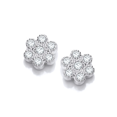 Silver and Cubic Zirconia Petal Earrings