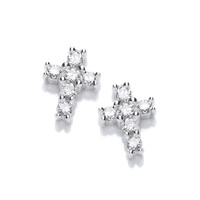 Silver and Cubic Zirconia Mini Cross Earrings