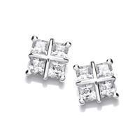 Silver and Cubic Zirconia Square Cross Earrings