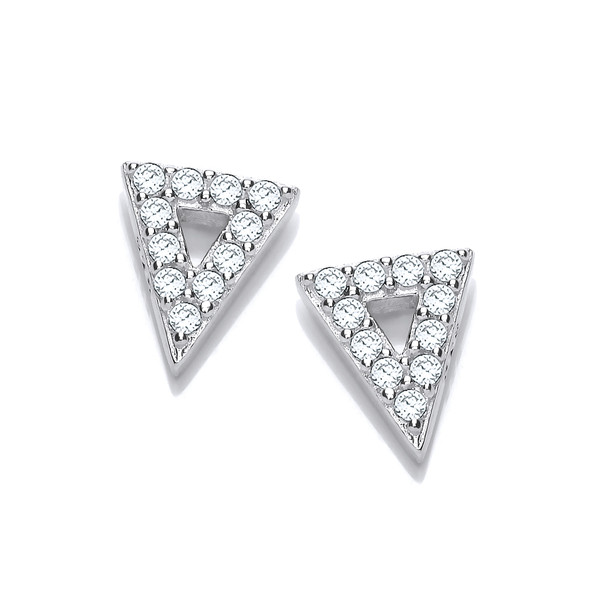 Cute Silver and Cubic Zirconia Triangle Earrings