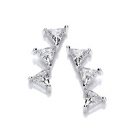 Silver and cubic zirconia triangle climber earrings