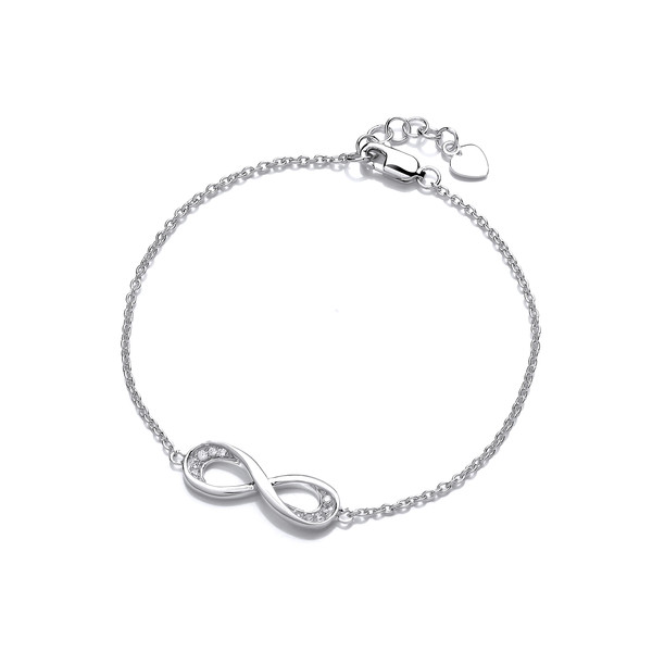 Silver and Cubic Zirconia Infinity Bracelet