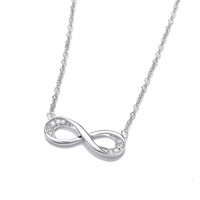 Silver and Cubic Zirconia Infinity Necklace