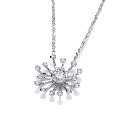 Silver and Cubic Zirconia Starburst Necklace