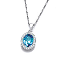 Silver and Blue Topaz CZ Timeless Elegance Pendant